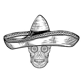 Mexicaanse suikerschedel in sombrero. dag van de doden thema. ontwerpelement voor poster, t-shirt, embleem, teken.