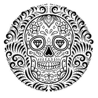 Mexicaanse suikerschedels met bloemenpatroonachtergrond. dag van de doden.