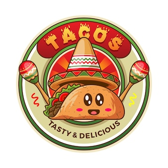 Mexicaanse taco badge illustratie