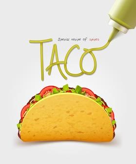 Mexicaanse taco met vlees. realistische inscriptiesaus. geïsoleerd
