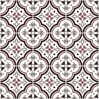 Mexicaanse talavera keramische tegels patroon, italiaans aardewerk decor, portugese azulejo naadloze patroon, kleurrijke spaanse majolica ornament, grijs en bruin antiek behang