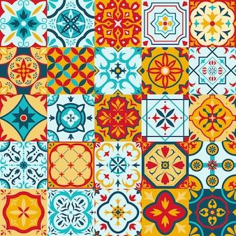 Mexicaanse talavera, portugese azulejo traditionele keramische tegelpatronen. decoratieve etnische ornament keramische tegels vector illustratie set. patchwork folk patroon tegels