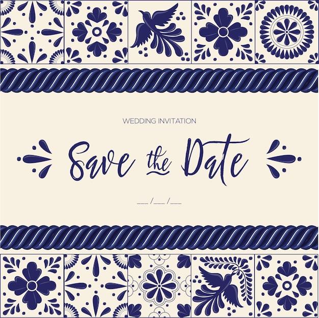 Mexicaanse talavera-tegels - save the date-kaartsjabloon