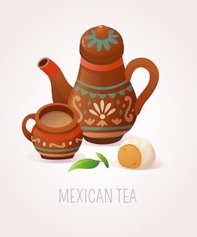 Mexicaanse thee serveren illustratie