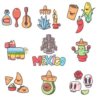 Mexicaanse traditie-elementen met leuke emoties voor feest