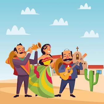 Mexicaanse traditionele cultuur pictogram cartoon