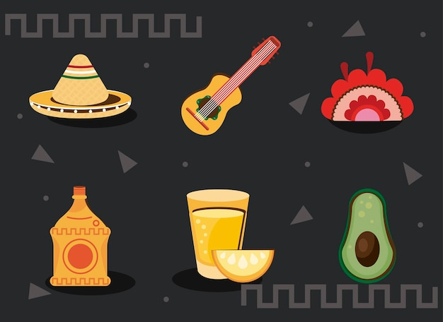 Mexicaanse viering bundel set pictogrammen
