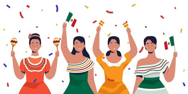 Mexicaanse vrouwen die onafhankelijkheidsdag vieren