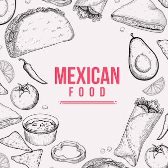 Mexican food doodle handdrawn achtergrond