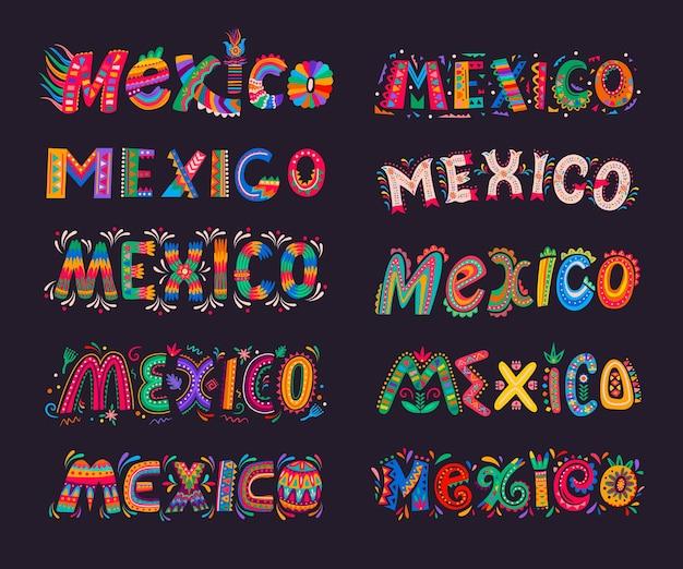 Mexico belettering elementen, mexicaanse typografie