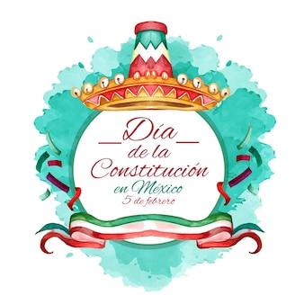Mexico grondwet dag aquarel illustratie