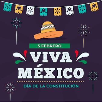 Mexico grondwet dag behang met hoed