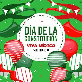Mexico grondwet dag hand getrokken illustratie