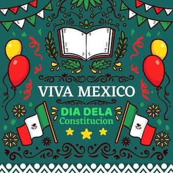 Mexico grondwet dag hand getrokken illustraties
