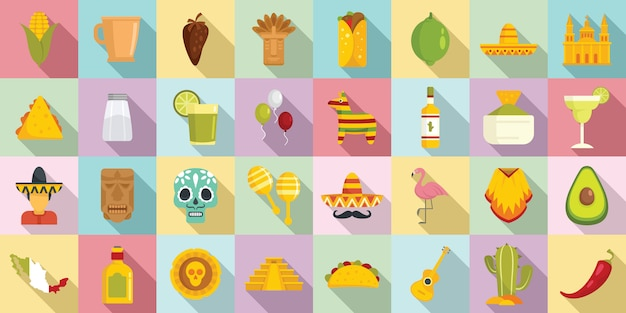 Mexico iconen set, vlakke stijl