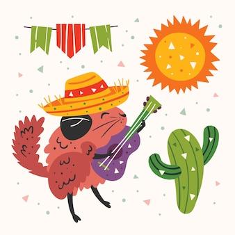 Mexico-illustraties. kleine schattige chinchilla in sombrero met een gitaar, cactus, zon en vlaggen. mexicaans feest. vakantie in latijns-amerika. plat kleurrijke illustratie, set, sticker geïsoleerd