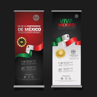 Mexico independence day celebration, roll-up banner set sjabloon.