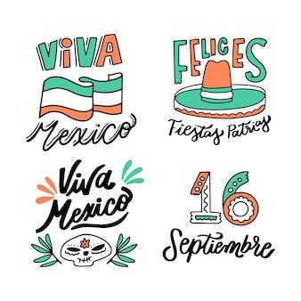 Mexico onafhankelijkheidsdag belettering badges