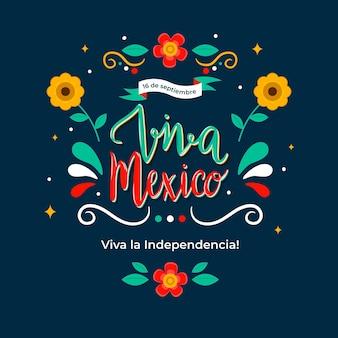 Mexico onafhankelijkheidsdag belettering concept