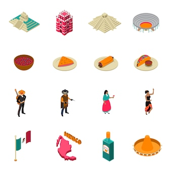 Mexico toeristische bezienswaardigheden isometrische iconen collectie
