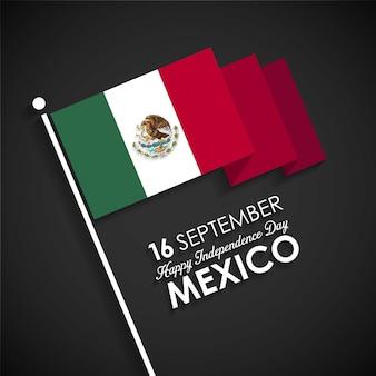 Mexico vlag met de dag van de onafhankelijkheid tekst