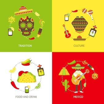 Mexico vlakke elementen samenstelling set