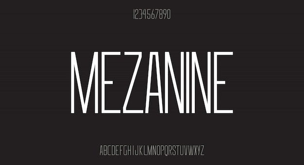 Mezzanine, moderne scherpe randen, lang schreefloos lettertype