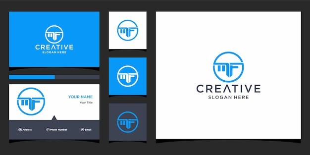 Mf-logo-ontwerp met sjabloon voor visitekaartjes