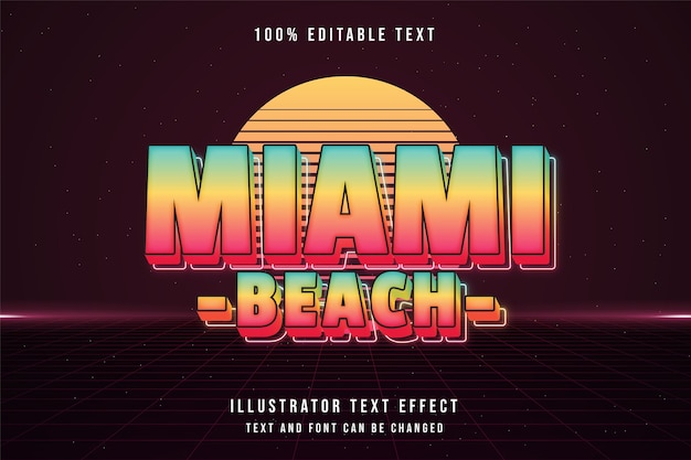 Miami beach, bewerkbaar teksteffect blauwe gradatie geelroze neon tekststijl