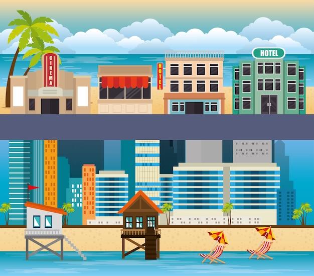 Miami beach stadsgezicht scènes vector illustratie ontwerp instellen