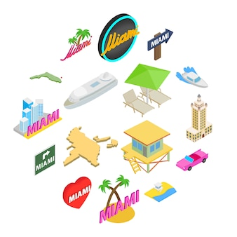 Miami icon set, isometrische stijl