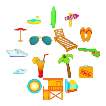 Miami iconen set, cartoon stijl