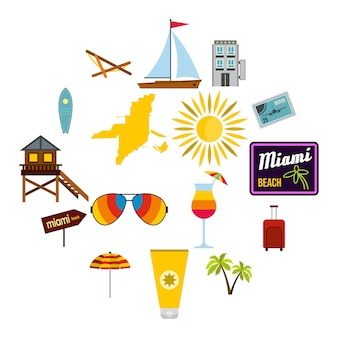 Miami iconen set, vlakke stijl