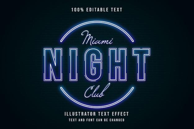 Miami night club, 3d bewerkbaar teksteffect blauwe gradatie neon tekststijl