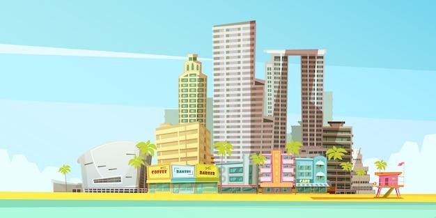 Miami skyline ontwerpconcept voor zakelijke reizen en toerisme presentatie