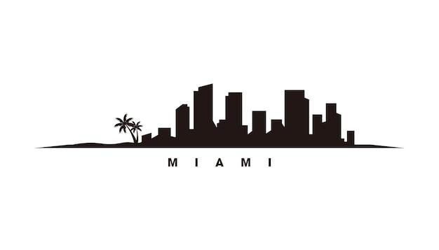 Miami skyline silhouet vector