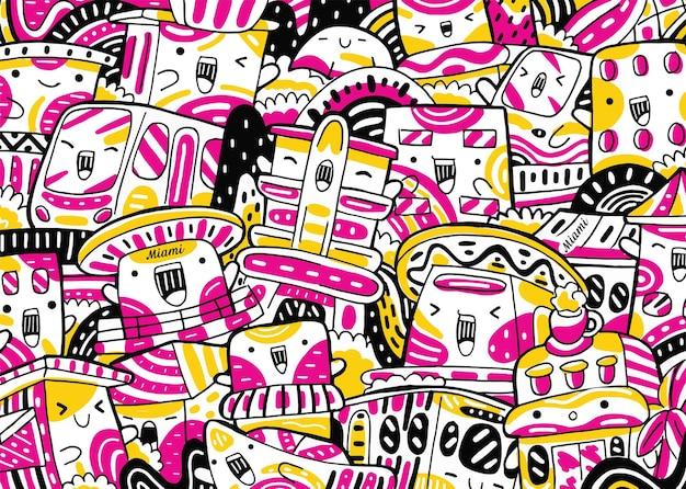 Miami stadsgezicht doodle in platte ontwerpstijl