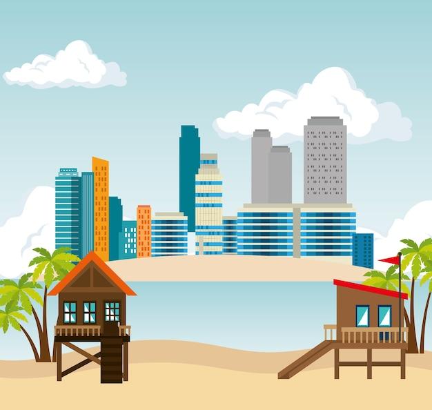 Miami strand stadsgezicht vector illustratie ontwerp