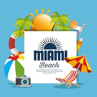 Miami strand zomer pictogrammen