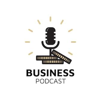 Mic microfoon geld munten voor zakelijk podcast logo-ontwerp