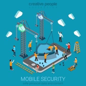 Micro-mensen die een enorm schild op de smartphone installeren