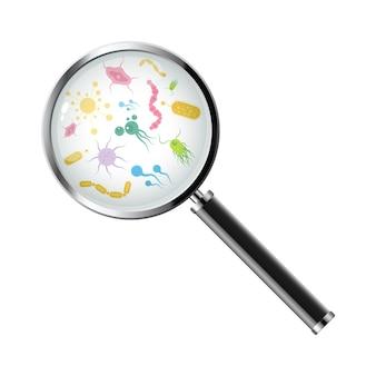 Micro-organismen onder een vergrootglas vectorontwerp