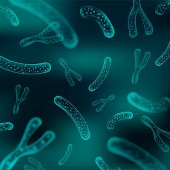 Microbacterie en therapeutische bacteriën organismen. microscopische salmonella, lactobacillus of acidophilus organisme. wetenschap achtergrond.