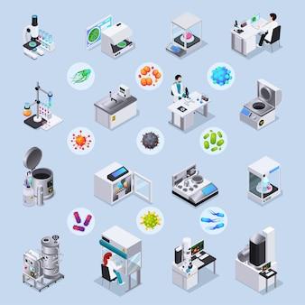Microbiologie isometrische set laboratoriumapparatuur voor realisatie van wetenschappelijke experimenten en vergrote bacteriën en virusbeelden onder geïsoleerde microscoop