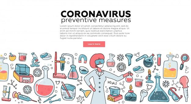 Microbioloog wetenschapper onderzoek coronavirus cov in het laboratorium omgeven door virussen, wetenschappelijke medische apparatuur. bewustzijnscampagne. tempalte voor bestemmingspagina. vlakke afbeelding.