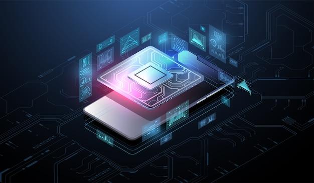 Microchip-processor met lichteffecten. cybernetisch systeem, futuristische computertechnologie. analyse en scannen van de chip. cpu - grote database, verwerking, snelle analyse. hud-interface.