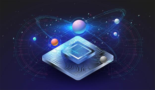 Microchip-processor met lichteffecten. cybernetisch systeem, futuristische computertechnologie.