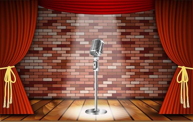 Microfoon en rood gordijn