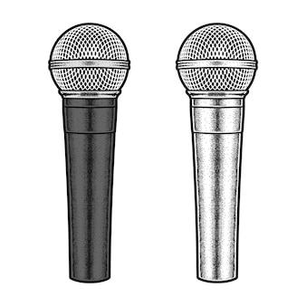 Microfoon geïsoleerd in de hand getekend