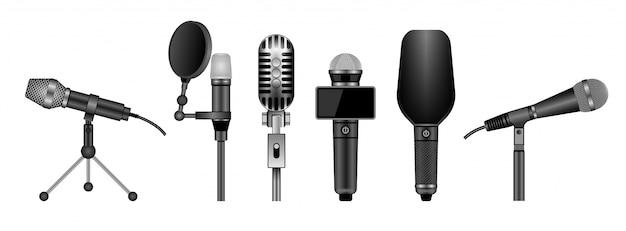 Microfoon geïsoleerd realistisch vastgesteld pictogram.